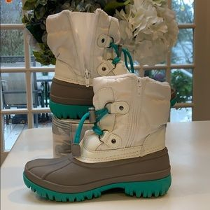 White and teal Cat & Jack winter boots
